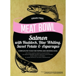 Meat Bowl (Szczeniak) - Łosoś z plamiakiem, błękitkiem, batatami i szparagami 12 kg