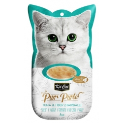 Kit Cat PurrPuree Tuna & Fiber Hairball 4x15g