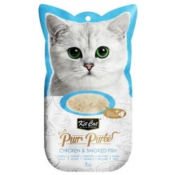 Kit Cat PurrPuree Chicken & Smoked Fish 4x15g