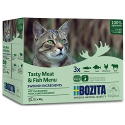 Bozita Cat Multibox z mięsem i rybą w galaretce saszetki 12x85g