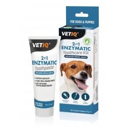 VetIQ 2in1 Ochrona zębów 70g Pasta enzym zestaw