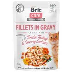 Brit Care Cat Fillets In Gravy Tender Turkey & Savory Salmon saszetka 85g