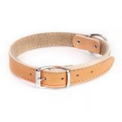 Dingo Obroża skórzana podszyta filcem 1,0x24cm naturalna