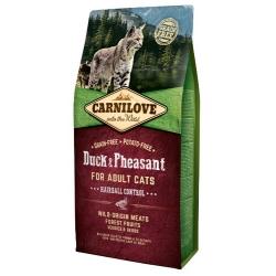 Carnilove Cat Duck & Pheasant Hairball Control - kaczka i bażant 6kg