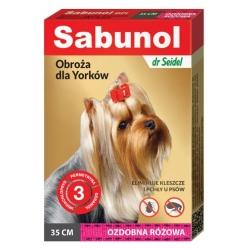 Sabunol GPI Obroża przeciw pchłom dla yorka ozdobna różowa 35cm
