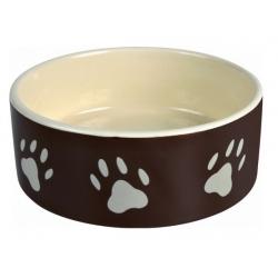 Trixie Miska ceramiczna czarna w szare łapki 0,3L/12cm [TX-24531]