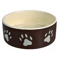 Trixie Miska ceramiczna czarna w szare łapki 1,4L/20cm [TX-24533]