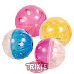 Trixie Piłki plastikowe przezroczyste z grzechotką 4,5cm 4szt. [TX-4166]