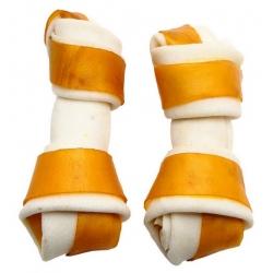 Adbi Kości wiązane biało-żółte - jagnięcina 10cm 10szt [AK 29]