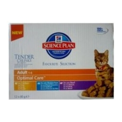 Hill's Science Plan Feline Adult Multipack Kurczak/Ryba oceaniczna/Wołowina saszetki 12x85g